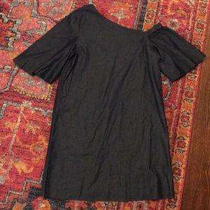 43f6a5904a Tibi Dresses - Tibi one shoulder dark denim bell sleeve dress